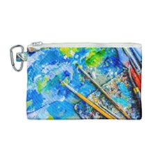 Artist Palette And Brushes Canvas Cosmetic Bag (medium) by FunnyCow