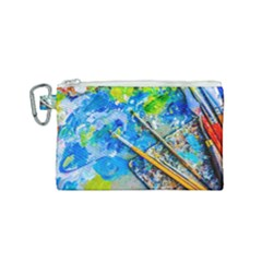 Artist Palette And Brushes Canvas Cosmetic Bag (small) by FunnyCow
