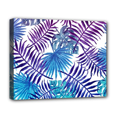 Blue Tropical Leaves Pattern Deluxe Canvas 20  X 16   by goljakoff