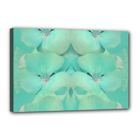 Green Fantasy Flower In Beautiful Festive Style Canvas 18  X 12  by pepitasart