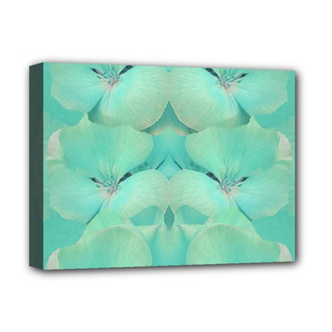 Green Fantasy Flower In Beautiful Festive Style Deluxe Canvas 16  X 12   by pepitasart