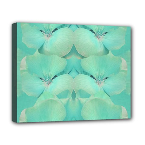 Green Fantasy Flower In Beautiful Festive Style Deluxe Canvas 20  X 16   by pepitasart