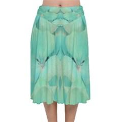 Green Fantasy Flower In Beautiful Festive Style Velvet Flared Midi Skirt by pepitasart
