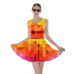 Abstract Background Square Colorful Skater Dress