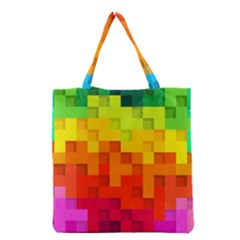 Abstract Background Square Colorful Grocery Tote Bag