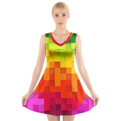 Abstract Background Square Colorful V Neck Sleeveless Dress