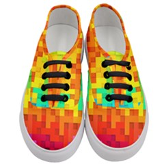 Abstract Background Square Colorful Women s Classic Low Top Sneakers