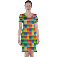 Background Colorful Abstract Short Sleeve Nightdress