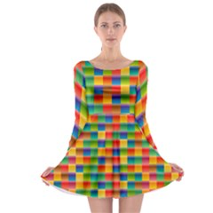 Background Colorful Abstract Long Sleeve Skater Dress