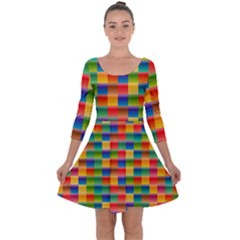 Background Colorful Abstract Quarter Sleeve Skater Dress