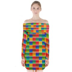 Background Colorful Abstract Long Sleeve Off Shoulder Dress