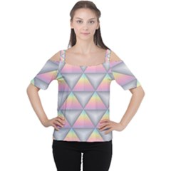 Background Colorful Triangle Cutout Shoulder Tee