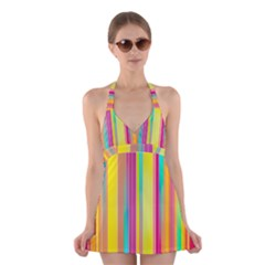 Background Colorful Abstract Halter Dress Swimsuit