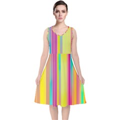 Background Colorful Abstract V Neck Midi Sleeveless Dress