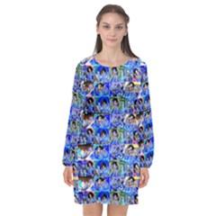 Artworkbypatrick1 12 1 Long Sleeve Chiffon Shift Dress