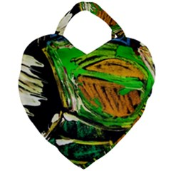 Lillies In The Terracota Vase 5 Giant Heart Shaped Tote by bestdesignintheworld