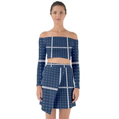 Solar Power Panel Off Shoulder Top With Skirt Set by FunnyCow
