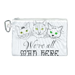 Funny Cats  We Are All Mad Here Canvas Cosmetic Bag (large) by FunnyCow