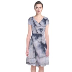 Canyon Rocks Natural Earth Art Texture Short Sleeve Front Wrap Dress