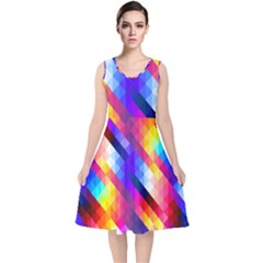 Abstract Background Colorful Pattern V Neck Midi Sleeveless Dress