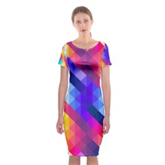 Abstract Background Colorful Pattern Classic Short Sleeve Midi Dress