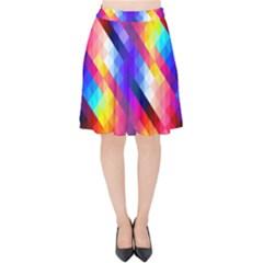 Abstract Background Colorful Pattern Velvet High Waist Skirt