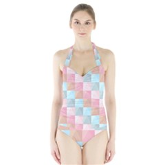 Abstract Pattern Background Pastel Halter Swimsuit
