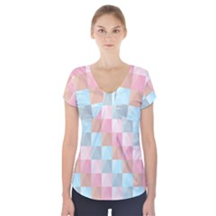 Abstract Pattern Background Pastel Short Sleeve Front Detail Top