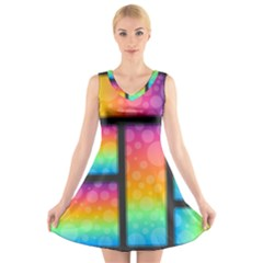 Background Colorful Abstract V Neck Sleeveless Dress