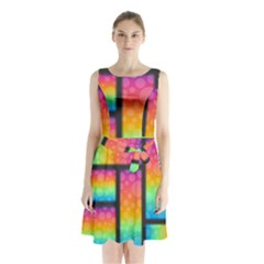 Background Colorful Abstract Sleeveless Waist Tie Chiffon Dress