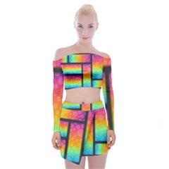 Background Colorful Abstract Off Shoulder Top With Mini Skirt Set