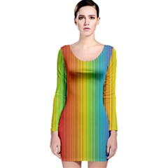 Background Colorful Abstract Long Sleeve Velvet Bodycon Dress