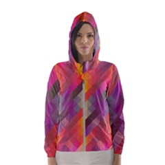 Abstract Background Colorful Pattern Hooded Windbreaker (women)