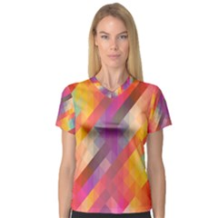 Abstract Background Colorful Pattern V Neck Sport Mesh Tee