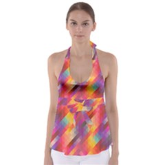 Abstract Background Colorful Pattern Babydoll Tankini Top