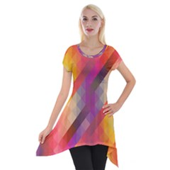 Abstract Background Colorful Pattern Short Sleeve Side Drop Tunic by Nexatart