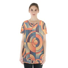 Background Abstract Orange Blue Skirt Hem Sports Top