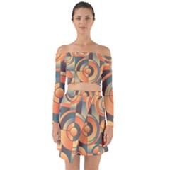 Background Abstract Orange Blue Off Shoulder Top With Skirt Set