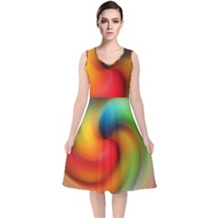 Abstract Spiral Art Creativity V Neck Midi Sleeveless Dress