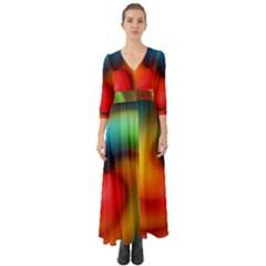 Abstract Spiral Art Creativity Button Up Boho Maxi Dress