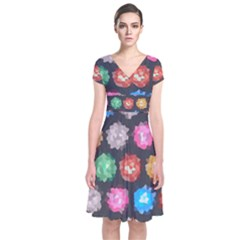 Background Colorful Abstract Short Sleeve Front Wrap Dress by Nexatart