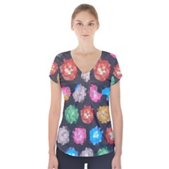 Background Colorful Abstract Short Sleeve Front Detail Top