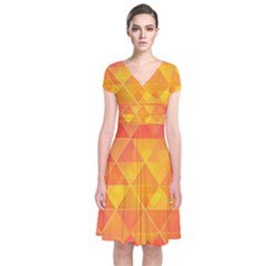 Background Colorful Abstract Short Sleeve Front Wrap Dress