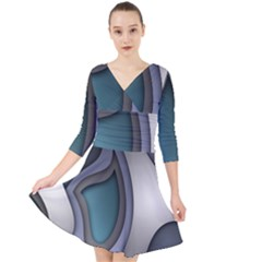Abstract Background Abstraction Quarter Sleeve Front Wrap Dress