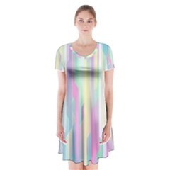 Background Abstract Pastels Short Sleeve V Neck Flare Dress