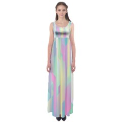Background Abstract Pastels Empire Waist Maxi Dress