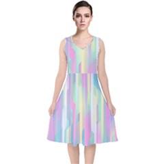 Background Abstract Pastels V Neck Midi Sleeveless Dress