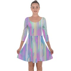 Background Abstract Pastels Quarter Sleeve Skater Dress