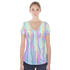 Background Abstract Pastels Short Sleeve Front Detail Top