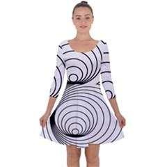 Spiral Eddy Route Symbol Bent Quarter Sleeve Skater Dress